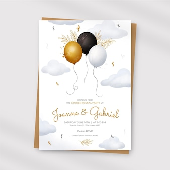 Hand painted watercolor gender reveal invitation template