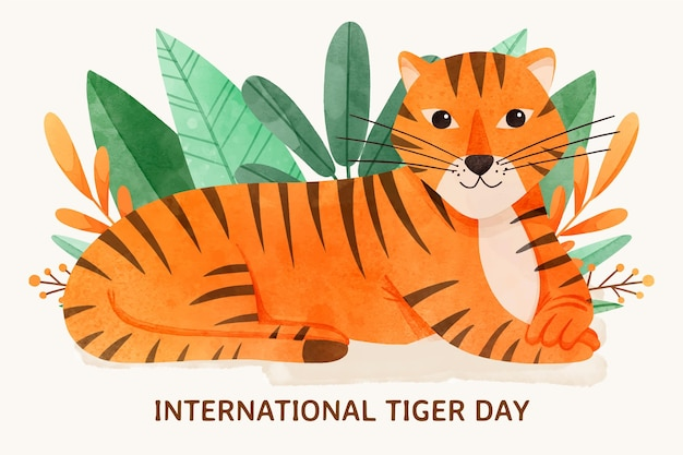 Hand painted watercolor global tiger day illustration