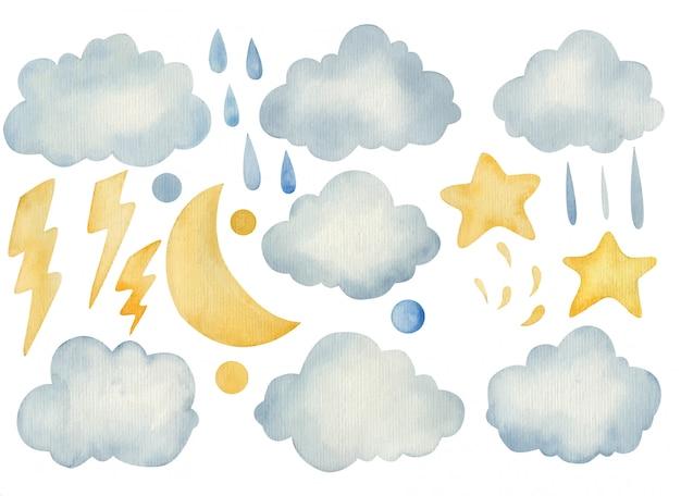 손으로 그린 수채화 금 달, 구름과 별