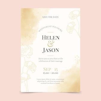 Modello di invito a nozze d'oro ad acquerello dipinto a mano