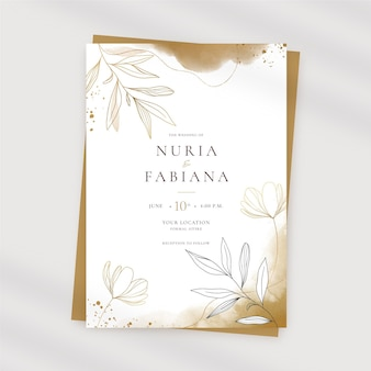 Hand painted watercolor golden wedding invitation template