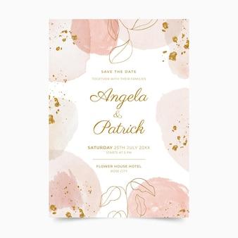 手描きの水彩画の黄金の結婚式の招待状のテンプレート
