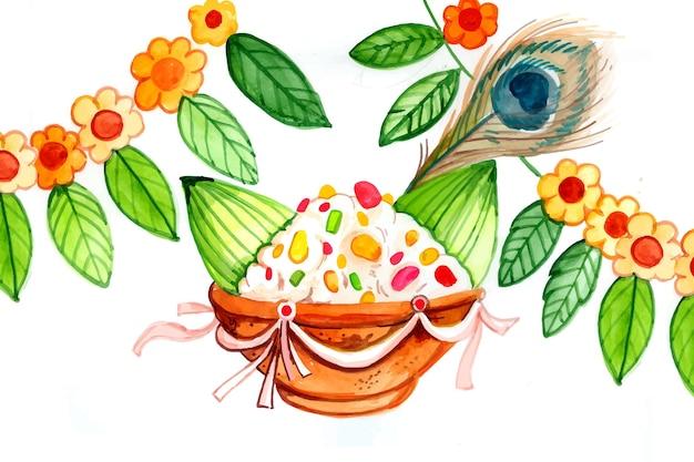 Hand painted watercolor gopalkala illustration