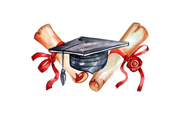 Hand painted watercolor graduation illustration