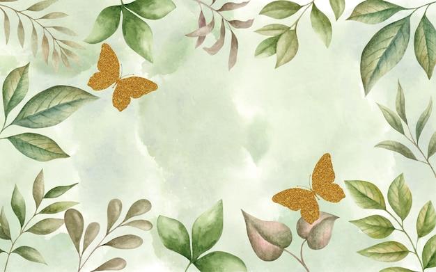 手描きの水彩画緑の葉春の背景と金色の蝶