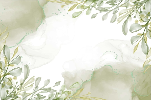 Hand painted watercolor greenery leaf background