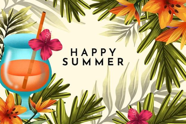 Illustrazione di felice estate dell'acquerello dipinto a mano