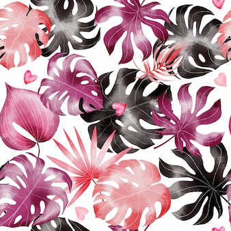 Hand painted watercolor happy valentines day seamless pattern with tropical leaves