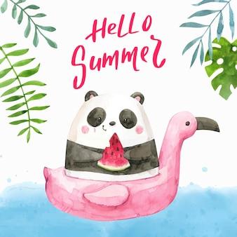 손으로 그린 수채화 안녕하세요 여름 그림