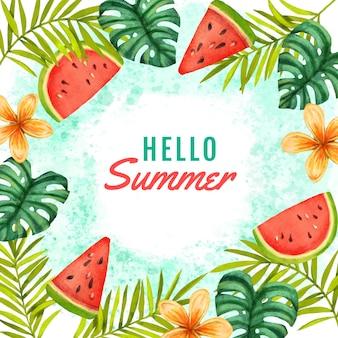 Ручная роспись акварелью привет лето иллюстрация