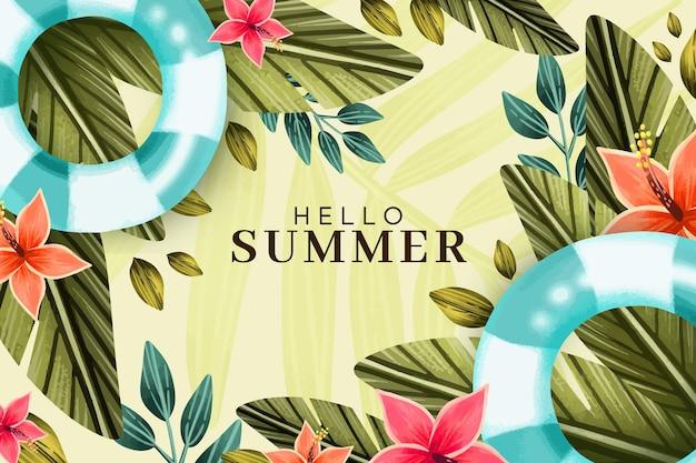 Illustrazione di ciao estate dell'acquerello dipinto a mano