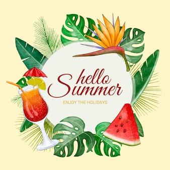Illustrazione di estate ciao acquerello dipinto a mano