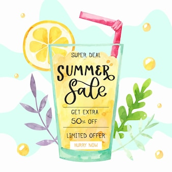 Hand painted watercolor hello summer sale illustration