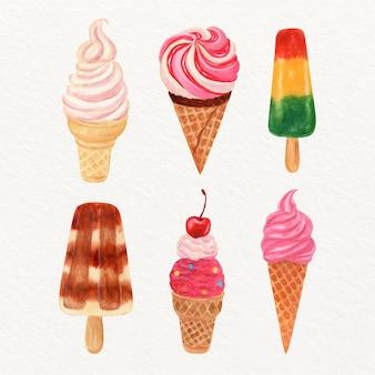 Collezione di gelato acquerello dipinto a mano