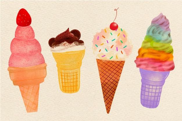 手描き水彩アイスクリームコレクション