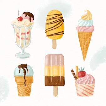 Ручная роспись акварельной коллекции мороженого