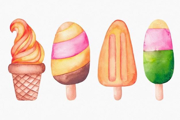 Ручная роспись акварельной упаковкой мороженого