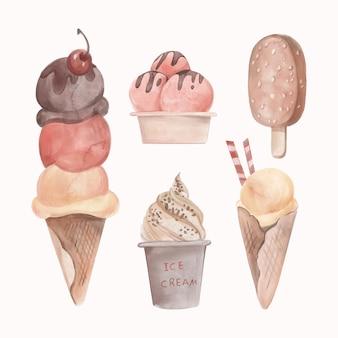 Confezione gelato acquerello dipinto a mano