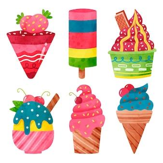Set gelato acquerello dipinto a mano