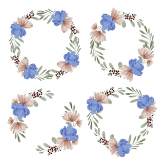 Hand painted watercolor illustration of flower wreath frame set