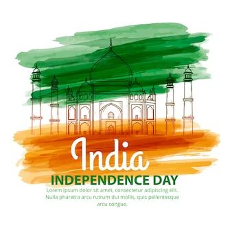 手描きの水彩画のインド独立記念日のイラスト