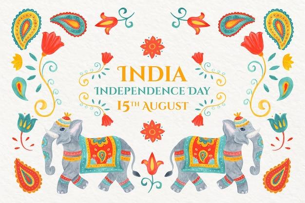 手描きの水彩画インド独立記念日のイラスト