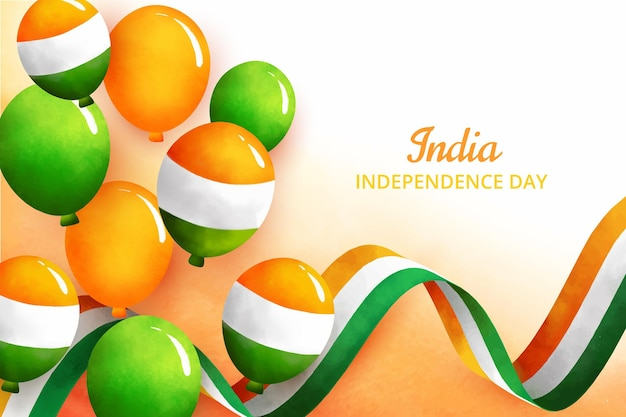 Hand painted watercolor india independence day illustration Free Vector