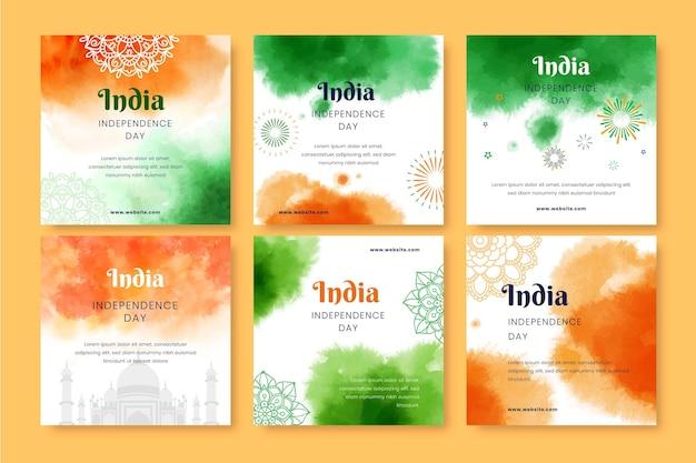 Ручная роспись акварелью день независимости индии коллекция сообщений instagram