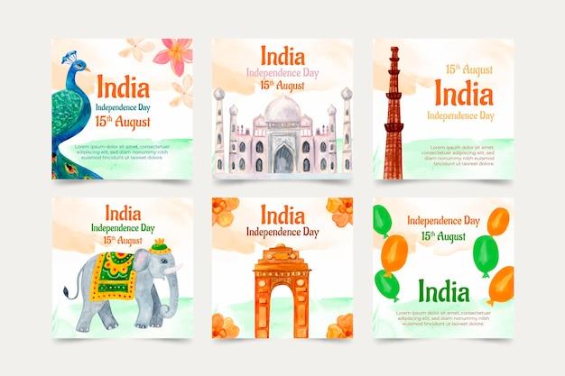 손으로 그린 수채화 인도 독립 기념일 instagram 게시물 컬렉션