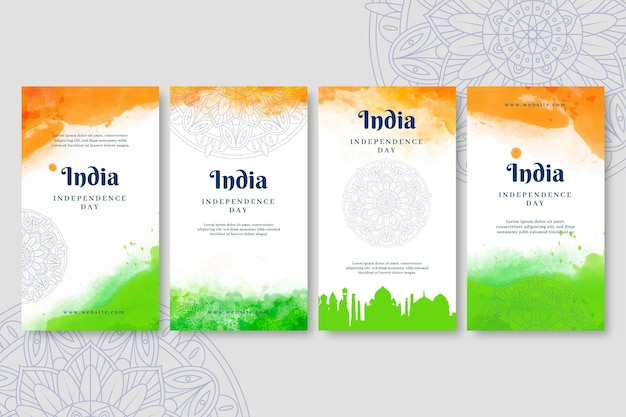 Hand painted watercolor india independence day instagram stories collection