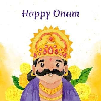 手描きの水彩画のインドのオナムお祝いイラスト