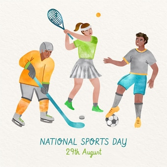 Ручная роспись акварелью индонезийский национальный спортивный день иллюстрация