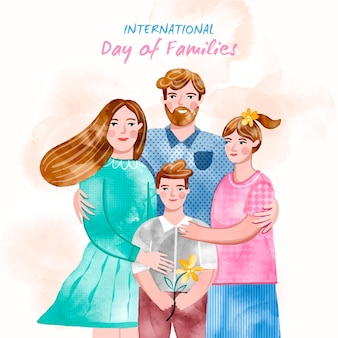 Hand painted watercolor international day of families illustration