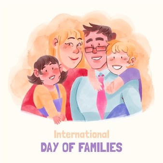 Illustrazione della giornata internazionale delle famiglie dell'acquerello dipinto a mano