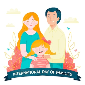 손으로 그린 수채화 국제 가족 그림의 날