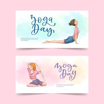 Hand painted watercolor international day of yoga banners set