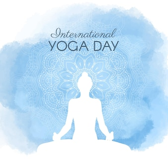 Hand painted watercolor international day of yoga illustration