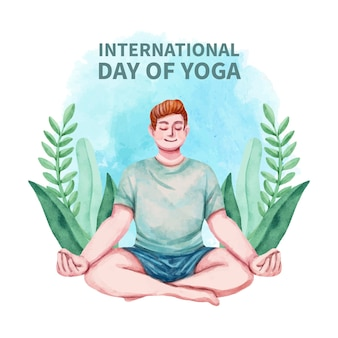 Giornata internazionale dell'acquerello dipinto a mano dell'illustrazione di yoga