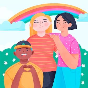 손으로 그린 수채화 국제 우정의 날 그림