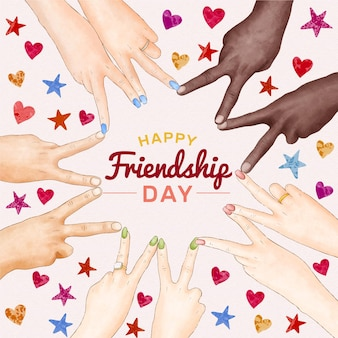Hand painted watercolor international friendship day illustration