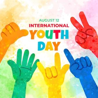 손으로 그린 수채화 국제 청소년의 날 그림