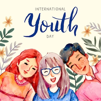 Hand painted watercolor international youth day illustration