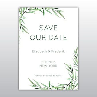 Hand painted watercolor invitation with botanical design