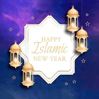 Ручная роспись акварельной исламской новогодней иллюстрацией