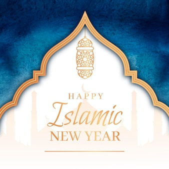 Hand painted watercolor islamic new year illustration