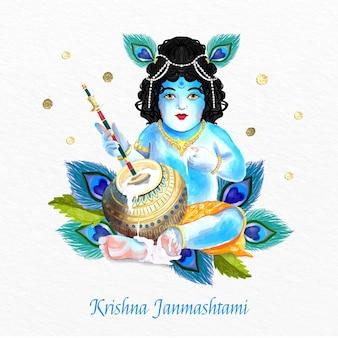 손으로 그린 수채화 krishna janmashtami 그림