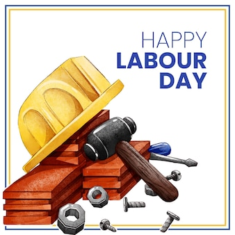 Hand painted watercolor labour day illustration