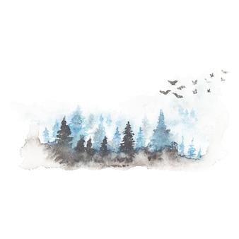 手描きの水彩風景