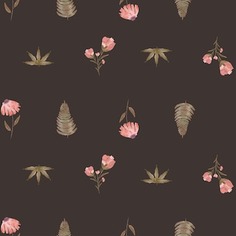 Hand painted watercolor leaf and pink rose flower seamless pattern