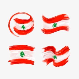 Collezione di bandiera libanese dell'acquerello dipinto a mano